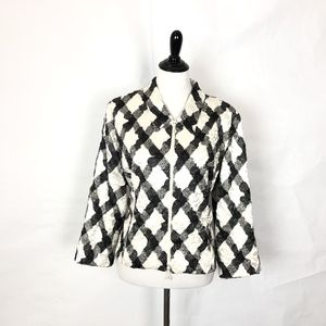 Joseph Ribkoff Textured Jacket Black White Zipper